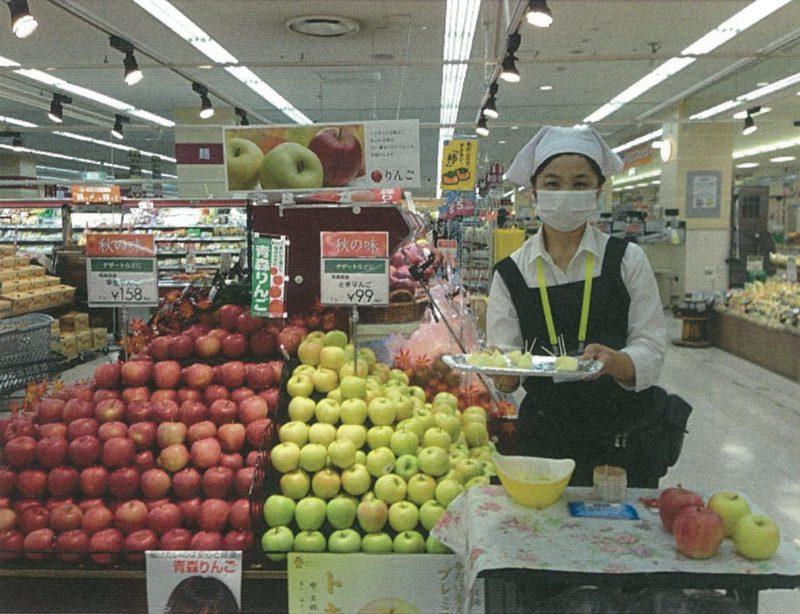 黄色りんご「トキ」の店頭販売