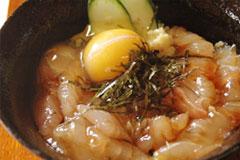あおもりご当地食めぐり 奥津軽食のエリア 鰺ヶ沢ヒラメのヅケ丼 鰺ヶ沢ヒラメのヅケ丼