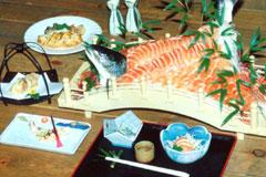 あおもりご当地食めぐり 奥津軽食のエリア 鰺ヶ沢イトウ料理 イトウの刺身、味噌焼き、マリネなど