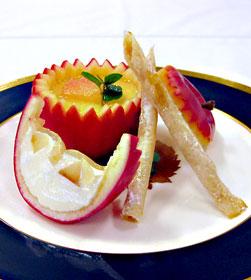 りんごのパンナコッタりんごのスティックを添えて 回転寿司あすか