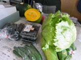 まさかりプラザ野菜とりたて市 海産物が並ぶ店内