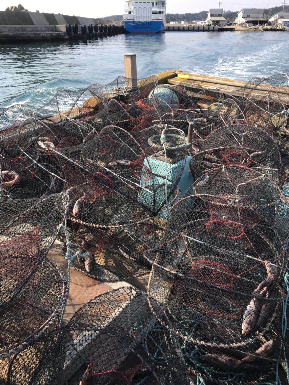 トゲクリガニ漁 船上