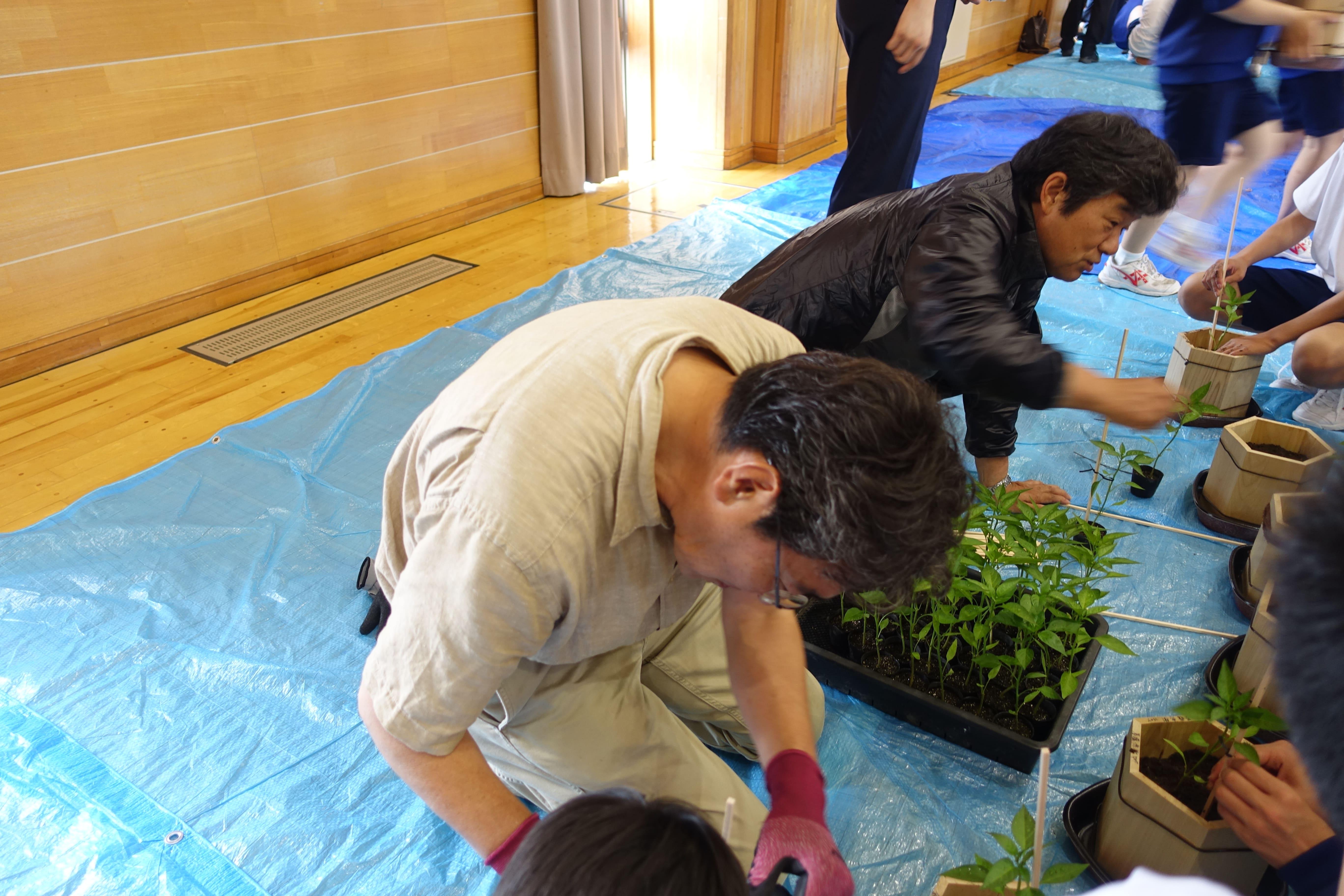 清水森ナンバ 鉢植え体験の様子
